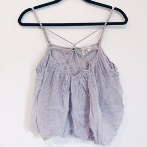 FREE PEOPLE Purple Tank Top With Detailed Neckline